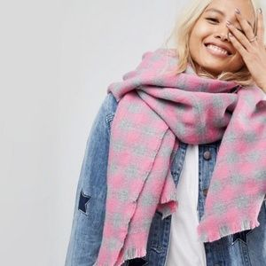 ASOS Oversized Square Scarf In Gingham Check